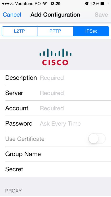 Configurare conexiune VPN de tip IPSEC XAUTH PSK pe iOS 7.1