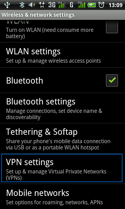Pas2. - Selectati VPN Settings