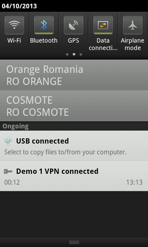 Status toolbar conexiune VPN Android activa