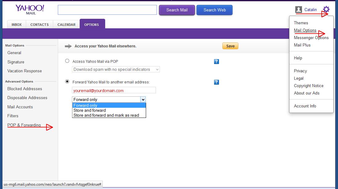yahoo mail redirectare emailuri