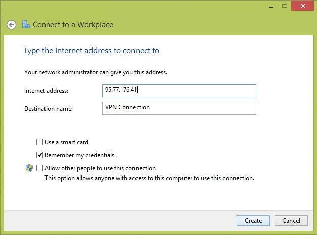Configurare VPN PPTP pe Windows 8