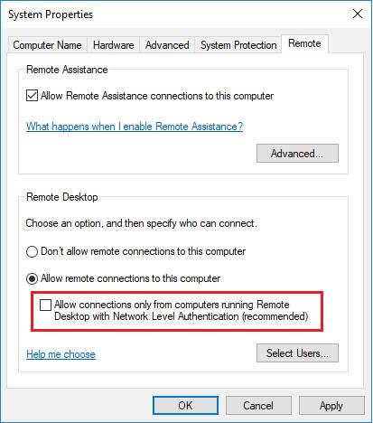 Remote Desktop Settings with no NLA